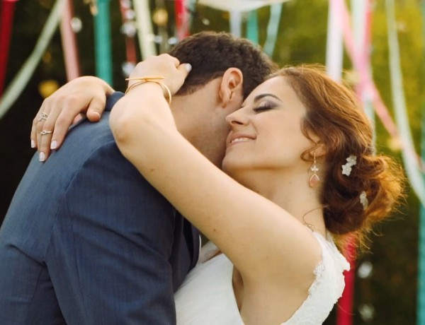 colorful young love wedding